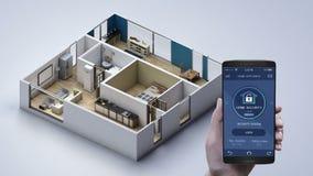 IoT slim huis, wat betreft sta-caravantoestel, de controle van de huisveiligheid Internet van Dingen royalty-vrije illustratie