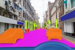 Iot smart automatisk Driverless bil med sammanslutningen för konstgjord intelligens med djup lärande teknologi själv som kör bilb royaltyfria bilder