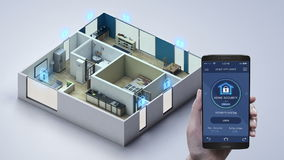IoT smart home, Touching mobile Home appliance, Home security control system. Internet of Things. IoT smart home, Touching mobile Home appliance, Home security