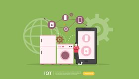 IOT smart house monitoring concept for industrial 4.0. remote appliances technology on smartphone screen app of internet of things vector illustration