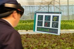 Iot smart industry robot 4.0 agriculture concept,agronomist,farmerblurred using smart glasses augmented mixed virtual reality,a. Rtificial intelligence royalty free stock photos