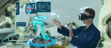 Iot smart technology futuristic in industry 4.0 concept, engineer use augmented mixed virtual reality to education and training, r. Epairs and maintenance, sales royalty free stock image