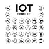 IOT-symbolsuppsättning Internet av sakerpictogramsamlingen Övervaka och kontroll för smart system avlägset ocks? vektor f?r corel stock illustrationer