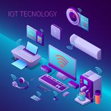 Iot Technology Isometric Composition. With office equipment and electronic personal gadgets on gradient background vector illustration stock illustration