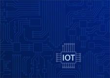 IOT-tekst op kringsraad wordt getoond met blauwe achtergrond die Internet van de illustratie van het dingenconcept stock illustratie