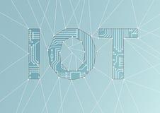 IOT-Text als Illustration Internet des Sachenbegriffshintergrundes Stockfotos