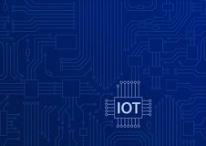 IOT text displayed on circuit board with blue background. Internet of things concept illustration stock illustration