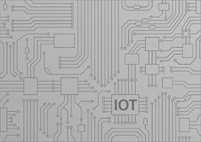 IOT text displayed on circuit board. Internet of things concept  illustration Royalty Free Stock Images