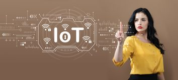 IoT theme with business woman. On a brown background stock image