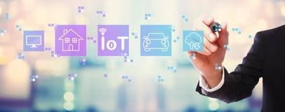 IoT theme with businessman stock photo