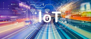 IoT theme with high speed motion blur. IoT theme with abstract high speed technology POV motion blur stock photos
