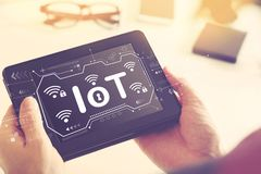 IoT theme with a tablet computer stock photo
