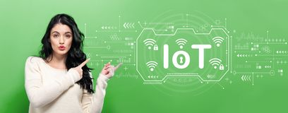 IoT theme with young woman. Pointing on a green background royalty free stock images