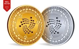 iota 隐藏货币 3D等量物理硬币 数字式货币 在白色b与Iota标志的金黄和银币隔绝的 库存图片