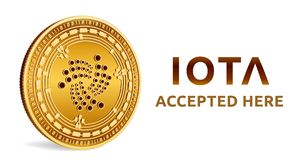 Iota. Accepted sign emblem. Crypto currency. Golden coin with Iota symbol isolated on white background. 3D isometric Physical coin. With text Accepted Here Stock Photos
