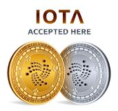 Iota. Accepted sign emblem. Crypto currency. Golden and silver coins with Iota symbol isolated on white background. 3D isometric P. Hysical coins with text Stock Photography