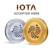 IOTA. Accepted sign emblem. Crypto currency. Golden and silver coins with IOTA symbol  on white background. 3D isometric P. Hysical coins with text Accepted Here Royalty Free Stock Photo