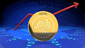 Iota, another online coin, bitrcoin rival, gaining in popularity and market value. Iota graph, digital currency rising in market value - symbolized by a gold Royalty Free Stock Photo