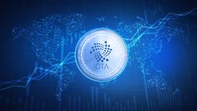 IOTA cash coin on hud background with bull stock chart. Stock Images