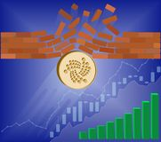 Iota coin breaks through the wall resistance. With growth chart on a blue background , the price of crypto currency is rising , vector image design concept Stock Photos