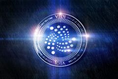 Iota coin digital lights composing. An iota coin digital lights composing Stock Photo