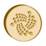 Iota crypto currency symbol,golden coin icon. On a white backgronnd Royalty Free Stock Photography