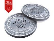 iota Crypto devise pièces de monnaie 3D physiques isométriques Devise de Digital Pièces en argent avec le symbole d'iota d'isolem illustration libre de droits