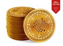 iota Crypto devise pièces de monnaie 3D physiques isométriques Devise de Digital Pile de pièces de monnaie d'or avec le symbole d Photographie stock