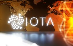IOTA cryptocurrency with worldmap. IOTA cryptocurrency technology on dark background Stock Image