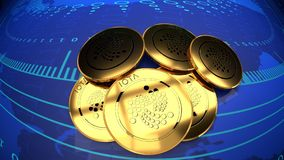 Internet cash, online money, Iota, bitcoin alternative. Iota currency market value rising chart, close up, blue digital background, 3d illustration Stock Image