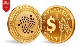 Iota. Dollar coin. 3D isometric Physical coins. Digital currency. Cryptocurrency. Golden coins with Iota and Dollar symbol isolate. Iota. Dollar coin. 3D Royalty Free Stock Photo
