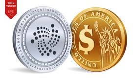 Iota. Dollar coin. 3D isometric Physical coins. Digital currency. Cryptocurrency. Golden and silver coins with Iota and Dollar sym. Bol isolated on white Royalty Free Stock Photo