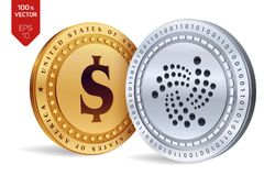 Iota. Dollar coin. 3D isometric Physical coins. Digital currency. Cryptocurrency. Golden and silver coins with Iota and Dollar sym. Bol isolated on white Stock Photo