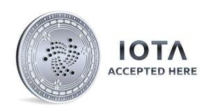 iota Emblème admis de signe Crypto devise Pièce en argent avec le symbole d'iota d'isolement sur le fond blanc pièce de monnaie 3 Photos stock