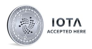 iota Emblema aceitado do sinal Moeda cripto Moeda de prata com símbolo do IOTA isolada no fundo branco moeda 3D física isométrica Fotos de Stock
