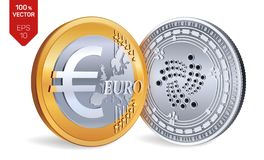 Iota. Euro. 3D isometric Physical coins. Digital currency. Cryptocurrency. Golden and silver coins with Iota and Euro symbol vector illustration