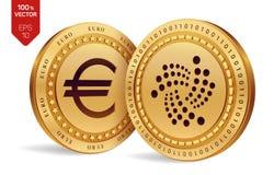 iota Euro pièce de monnaie pièces de monnaie 3D physiques isométriques Devise de Digital Cryptocurrency Pièces de monnaie d'or av Photographie stock libre de droits