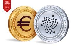 iota Euro pièce de monnaie pièces de monnaie 3D physiques isométriques Devise de Digital Cryptocurrency Pièces d'or et en argent  Illustration de Vecteur