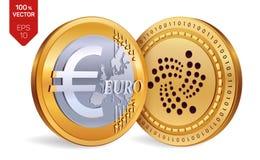 iota Euro pièces de monnaie 3D physiques isométriques Devise de Digital Cryptocurrency Pièces de monnaie d'or avec l'iota et l'eu Image libre de droits