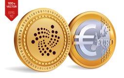 iota Euro violento a metà contro vecchia priorità bassa monete fisiche isometriche 3D Valuta di Digital Cryptocurrency Monete dor Fotografia Stock Libera da Diritti