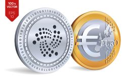 iota Euro violento a metà contro vecchia priorità bassa monete fisiche isometriche 3D Valuta di Digital Cryptocurrency Monete dor Fotografia Stock