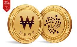 iota gewonnen isometrische körperliche Münzen 3D Digital-Währung Korea gewann Münze mit dem Text in der koreanischen Bank von Kor lizenzfreie abbildung