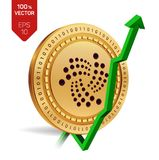 Iota. Growth. Green arrow up. Iota index rating go up on exchange market. Crypto currency. 3D isometric Physical Golden coin isola. Ted on white background Stock Photo