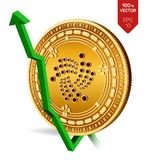 Iota. Growth. Green arrow up. Iota index rating go up on exchange market. Crypto currency. 3D isometric Physical Golden coin isola. Ted on white background Stock Image