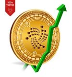 Iota. Growth. Green arrow up. Iota index rating go up on exchange market. Crypto currency. 3D isometric Physical Golden coin isola. Ted on white background Royalty Free Stock Photo