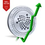 Iota. Growth. Green arrow up. Iota index rating go up on exchange market. Crypto currency. 3D isometric Physical Silver coin isola. Ted on white background Royalty Free Stock Photography
