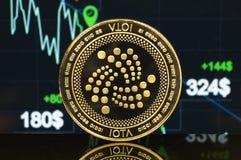 Iota ist eine moderne Weise des Austausches und dieser Schlüsselwährung lizenzfreies stockfoto