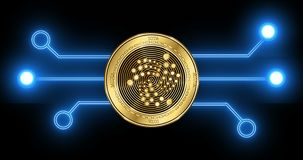 Iota MIOTA cryptocurrency coin with glowing blockchain transaction schematic. Iota MIOTA cryptocurrency gold coin on the background of glowing blockchain stock video