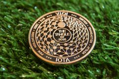 Iota is a modern way of exchange and this crypto currency is a convenient means of payment in the financial and web markets. Iota is a modern way of exchange and royalty free stock photo