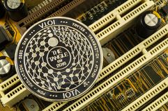 Iota is a modern way of exchange and this crypto currency. Is a convenient means of payment in the financial and web markets royalty free stock photography